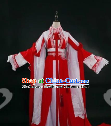 Chinese Ancient Cosplay Fairy Princess Red Dress Traditional Hanfu Female Knight Swordsman Costume for Women