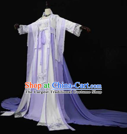 Chinese Ancient Cosplay Fairy Princess Lilac Dress Traditional Hanfu Female Knight Swordsman Costume for Women