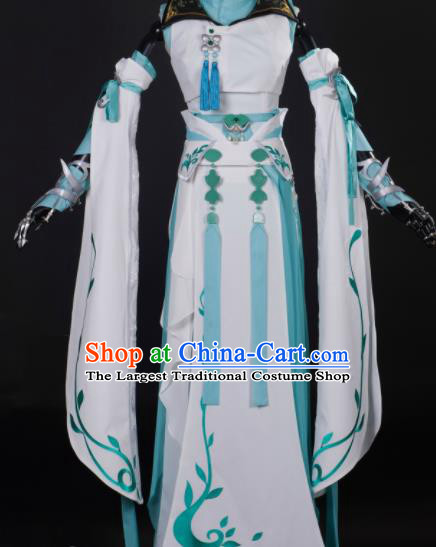 Chinese Ancient Cosplay Fairy Princess White Dress Traditional Hanfu Female Knight Swordsman Costume for Women