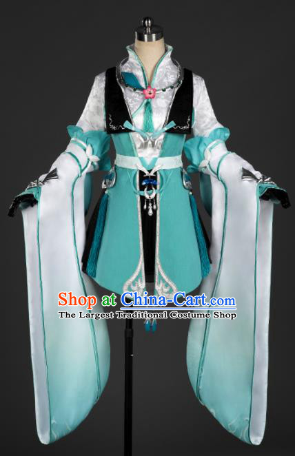 Chinese Ancient Cosplay Fairy Princess Green Short Dress Traditional Hanfu Female Knight Swordsman Costume for Women
