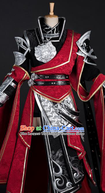 Chinese Ancient Drama Cosplay Young General Red Armor Knight Clothing Traditional Hanfu Swordsman Costume for Men