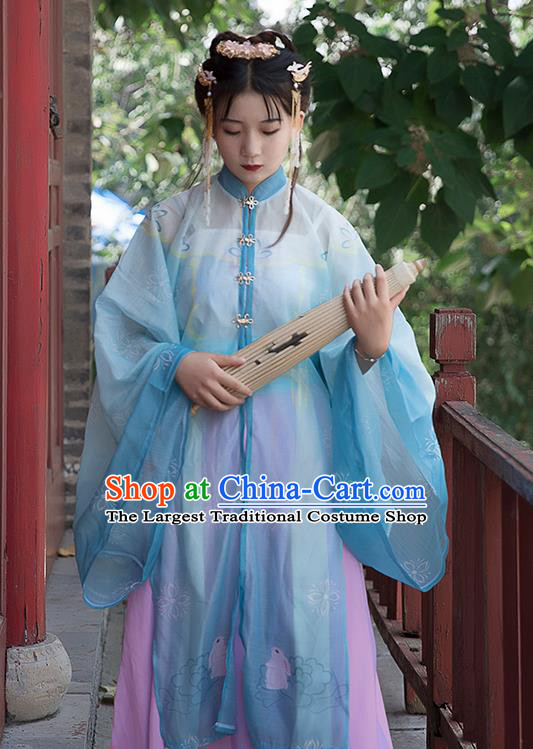 Chinese Ancient Cosplay Princess Blue Dress Traditional Hanfu Ming Dynasty Costume for Women