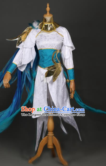 Chinese Ancient Cosplay Game Female Knight White Dress Traditional Hanfu Swordsman Costume for Women