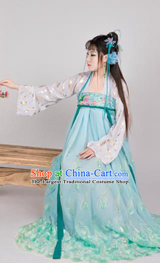 Chinese Ancient Cosplay Game Fairy Knight Green Dress Traditional Hanfu Princess Swordsman Costume for Women