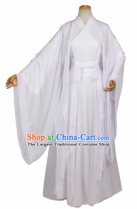 Chinese Ancient Drama Cosplay Young Knight White Clothing Traditional Hanfu Swordsman Costume for Men