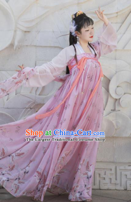 Chinese Ancient Cosplay Game Fairy Pink Dress Traditional Hanfu Princess Swordsman Costume for Women