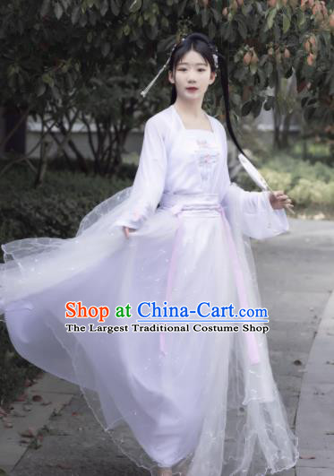 Chinese Ancient Cosplay Fairy Swordsman White Dress Traditional Hanfu Princess Costume for Women