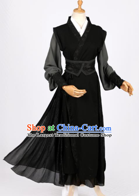 Chinese Ancient Drama Cosplay Young Knight Black Clothing Traditional Hanfu Swordsman Costume for Men
