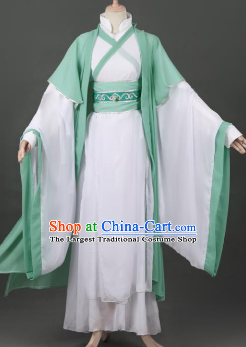 Chinese Ancient Drama Cosplay Young Knight Childe Green Clothing Traditional Hanfu Swordsman Costume for Men