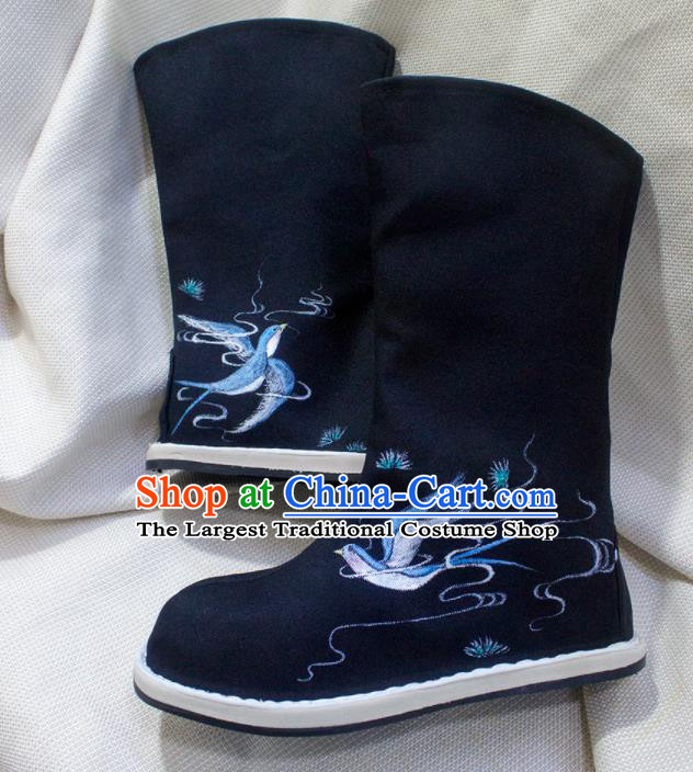 Asian Chinese Ancient Taoist Priest Embroidered Birds Shoes Swordsman Black Boots Traditional Hanfu Shoes for Men
