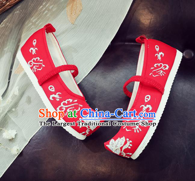 Asian Chinese Traditional Princess Hanfu Shoes National Red Cloth Shoes Embroidered Shoes for Kids