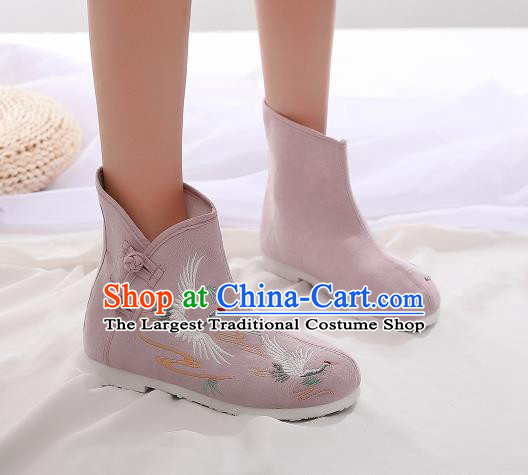 Asian Chinese Traditional Embroidered Crane Pink Boots Hanfu Shoes National Cloth Shoes for Women