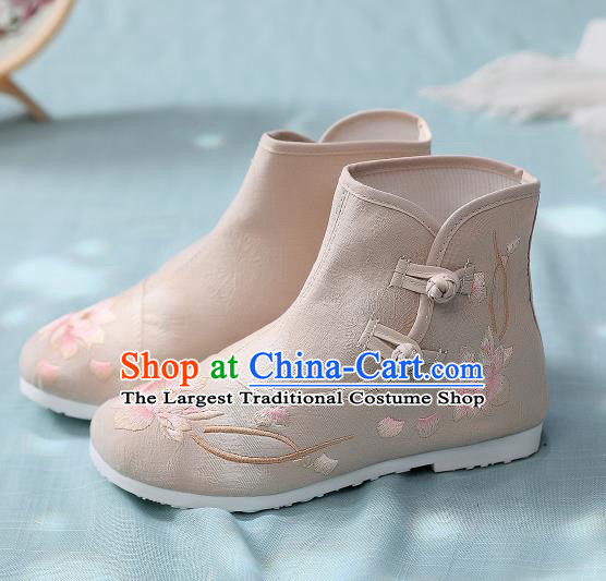 Asian Chinese Traditional Embroidered Lotus Khaki Boots Hanfu Shoes National Cloth Shoes for Women