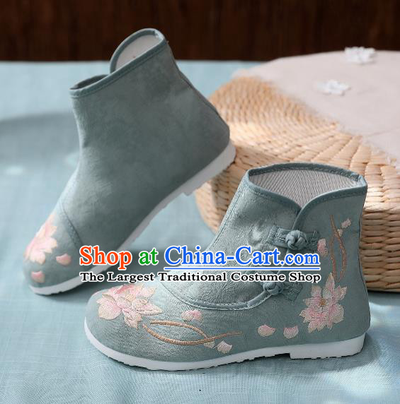 Asian Chinese Traditional Embroidered Lotus Green Boots Hanfu Shoes National Cloth Shoes for Women