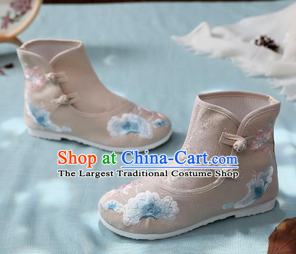 Asian Chinese Traditional Embroidered Lotus Leaf Khaki Boots Hanfu Shoes National Cloth Shoes for Women