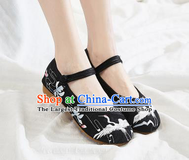 Asian Chinese Traditional Embroidered Crane Black Shoes Hanfu Shoes National Cloth Shoes for Women