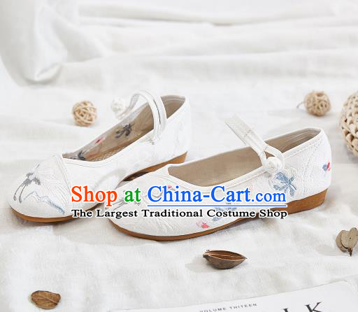 Asian Chinese Traditional Embroidered Crane White Shoes Hanfu Shoes National Cloth Shoes for Women