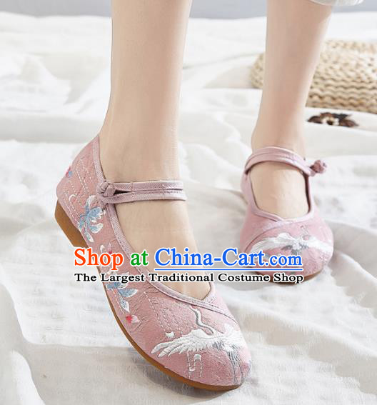 Asian Chinese Traditional Embroidered Crane Pink Shoes Hanfu Shoes National Cloth Shoes for Women
