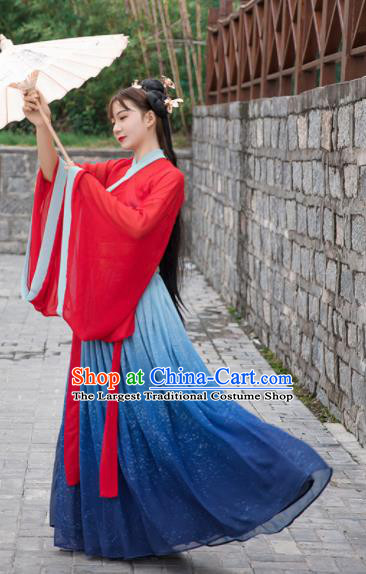Chinese Traditional Jin Dynasty Court Princess Replica Costumes Ancient Palace Hanfu Dress for Women
