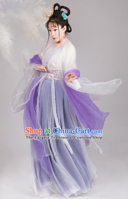 Chinese Traditional Tang Dynasty Imperial Consort Replica Costumes Ancient Goddess Chang E Hanfu Dress for Women