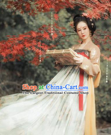 Chinese Traditional Tang Dynasty Court Princess Replica Costumes Ancient Imperial Consort Hanfu Dress for Women