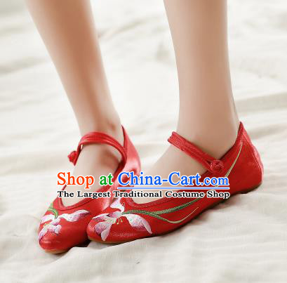 Asian Chinese Traditional Dance Embroidered Lotus Red Shoes Hanfu Wedding Shoes National Cloth Shoes for Women