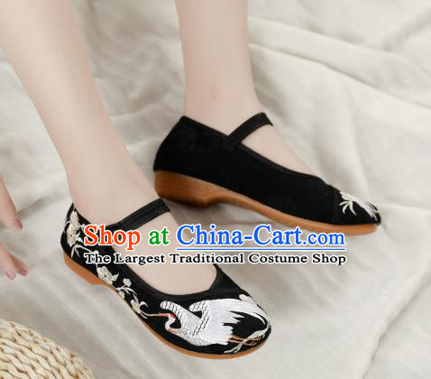 Asian Chinese Classical Dance Embroidered Crane Black Shoes Traditional Hanfu Shoes National Cloth Shoes for Women