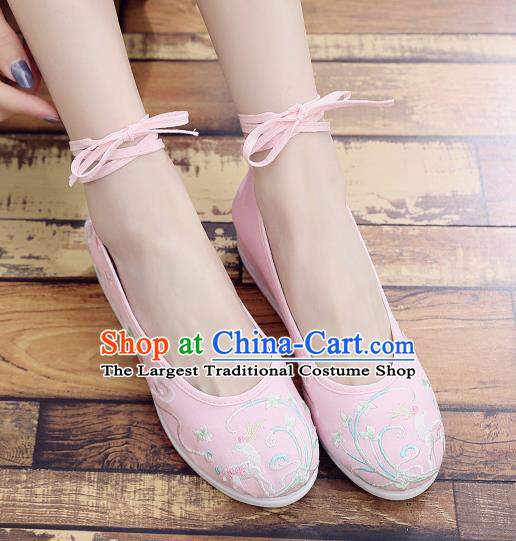 Asian Chinese Classical Dance Embroidered Deer Pink Shoes Traditional Hanfu Shoes National Cloth Shoes for Women
