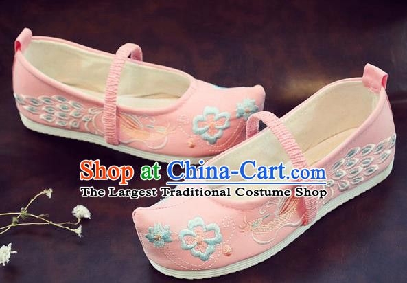 Asian Chinese Traditional Embroidered Peacock Pink Shoes Hanfu Shoes National Cloth Shoes for Kids