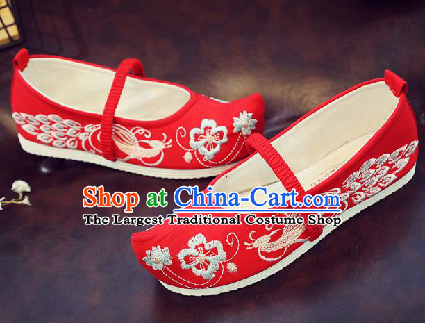 Asian Chinese Traditional Embroidered Peacock Red Shoes Hanfu Shoes National Cloth Shoes for Kids
