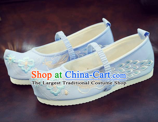 Asian Chinese Traditional Embroidered Peacock Blue Shoes Hanfu Shoes National Cloth Shoes for Kids
