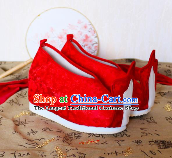 Asian Chinese Traditional Wedding Red Satin Shoes Ancient Princess Shoes Hanfu Shoes for Women