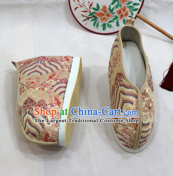 Asian Chinese Traditional Golden Blood Stained Shoes Ancient Princess Wedding Shoes Hanfu Shoes for Women