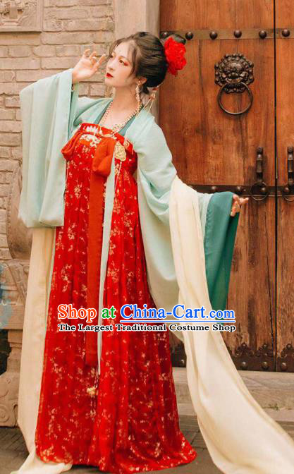 Chinese Traditional Cosplay Princess Red Dress Custom Ancient Tang Dynasty Imperial Consort Costume for Women