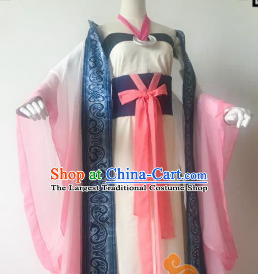 Chinese Traditional Cosplay Peri Princess Dress Custom Ancient Qin Dynasty Imperial Consort Costume for Women