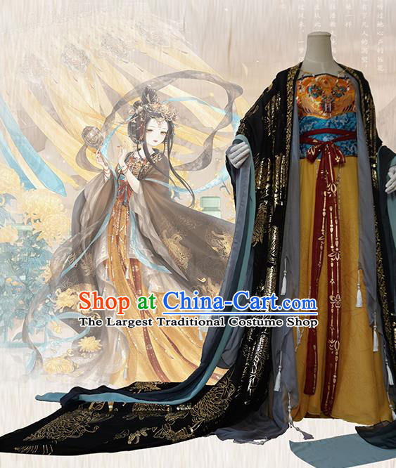 Chinese Traditional Cosplay Court Queen Dress Custom Ancient Tang Dynasty Imperial Consort Costume for Women