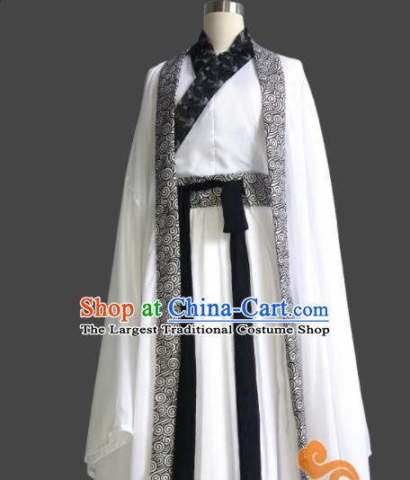 Chinese Traditional Cosplay Swordswoman Fairy White Dress Custom Ancient Jin Dynasty Imperial Consort Costume for Women