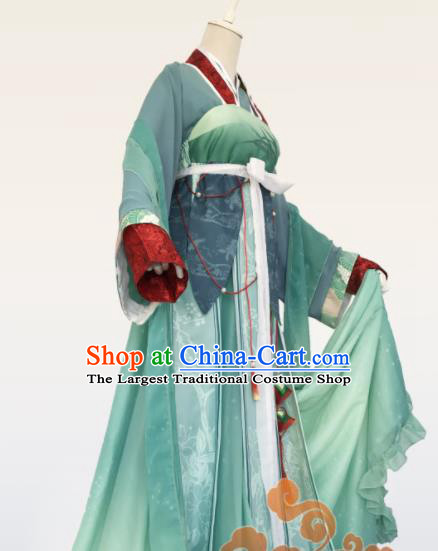 Chinese Traditional Cosplay Imperial Consort Green Dress Custom Ancient Swordswoman Princess Costume for Women