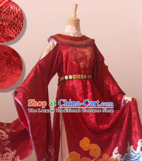 Chinese Ancient Cosplay Swordsman Red Clothing Custom Traditional Imperial Bodyguard Nobility Childe Costume for Men