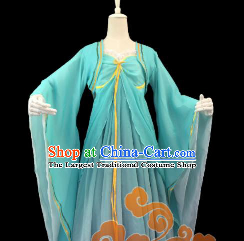 Chinese Traditional Cosplay Fairy Princess Green Dress Custom Ancient Swordswoman Costume for Women