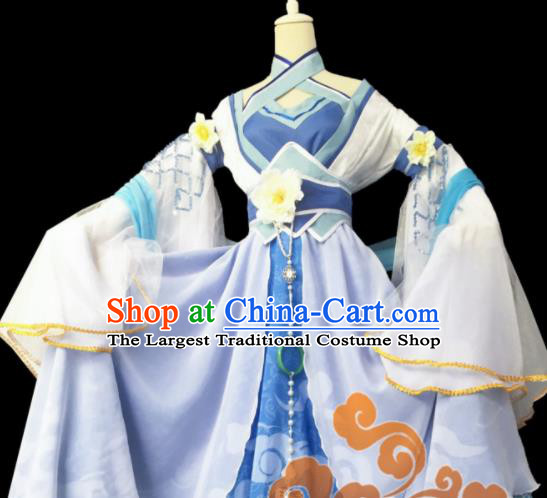 Chinese Traditional Cosplay Fairy Princess Lilac Dress Custom Ancient Courtesan Swordswoman Costume for Women
