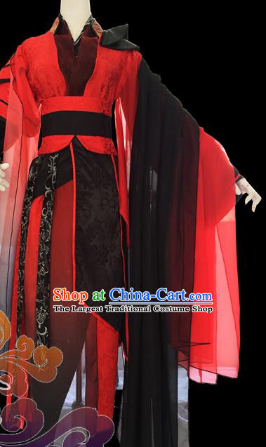 Chinese Traditional Cosplay Heroine Red Dress Custom Ancient Fairy Swordswoman Costume for Women