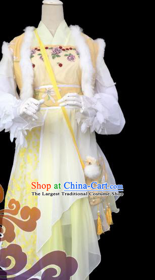 Chinese Traditional Cosplay Heroine Yellow Dress Custom Ancient Fairy Swordswoman Costume for Women