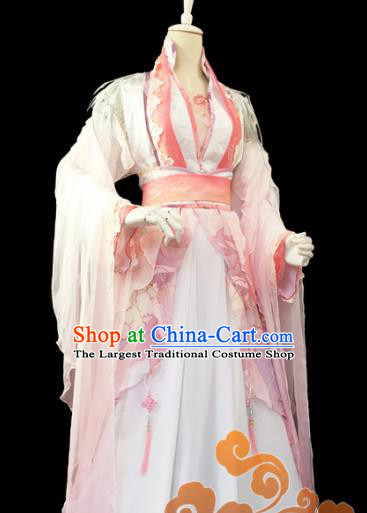 Traditional Chinese Cosplay Princess Heroine Pink Dress Ancient Swordswoman Costume for Women