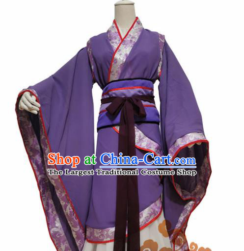 Chinese Traditional Cosplay Swordswoman Purple Dress Custom Ancient Imperial Consort Costume for Women
