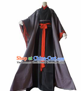 Chinese Ancient Cosplay Swordsman Wei Wuxian Black Clothing Custom Traditional Taoist Priest Costume for Men