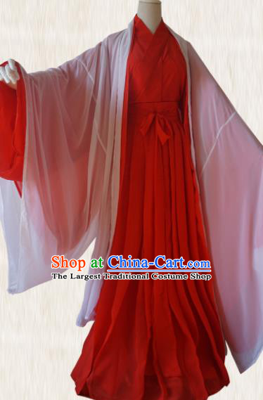 Chinese Traditional Cosplay Swordswoman Red Dress Custom Ancient Fairy Zi Xia Costume for Women