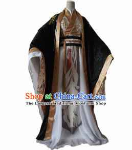 Chinese Ancient Cosplay Taoist Priest Swordsman Black Clothing Custom Traditional Nobility Childe Costume for Men