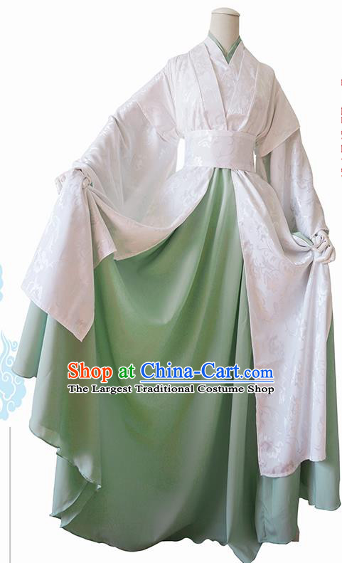 Chinese Traditional Cosplay Swordswoman White Dress Custom Ancient Fairy Princess Costume for Women