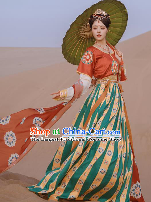 Ancinet Chinese Tang Dynasty Court Lady Hanfu Dress Traditional Flying Apsaras Dance Replica Costumes for Women